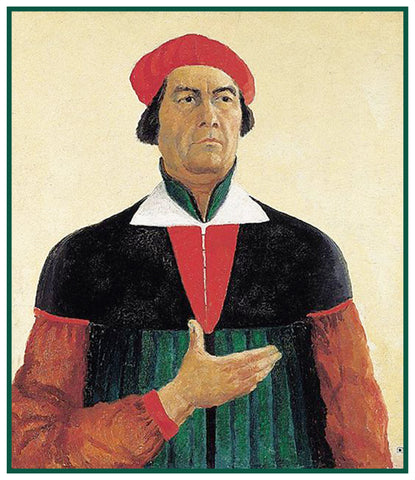 Self Portrait by Artist Kazimir Malevich Counted Cross Stitch or Counted Needlepoint Pattern