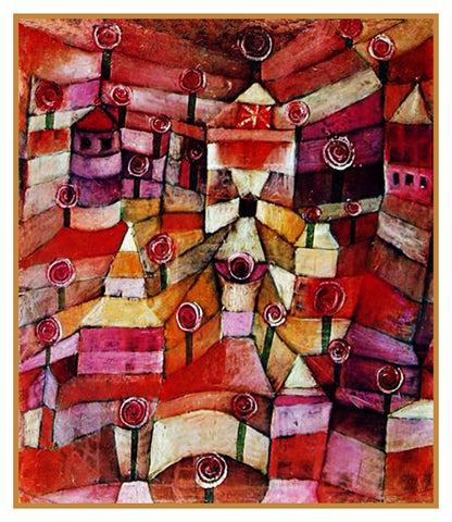 The Rose Garden by Expressionist Artist Paul Klee Counted Cross Stitch Pattern