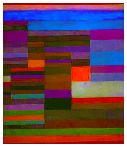Evening Fire by Expressionist Artist Paul Klee Counted Cross Stitch Pattern