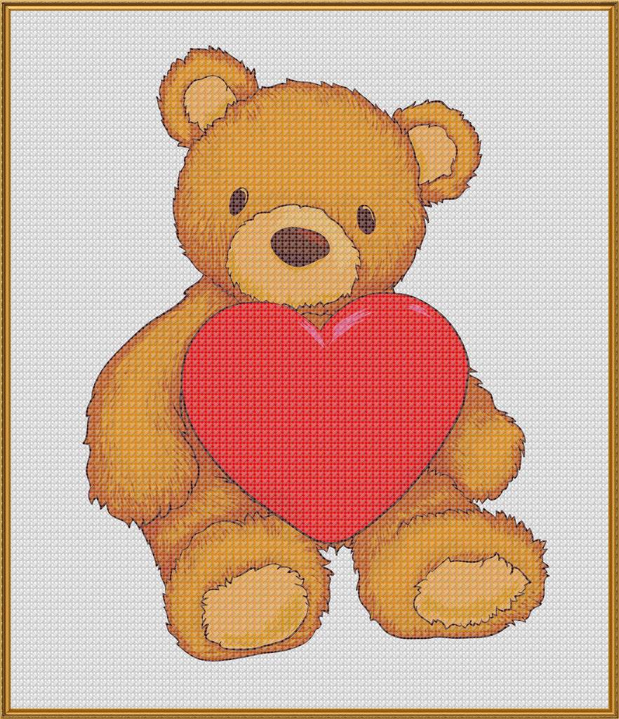 Contemporary Teddy Bear with Heart Love Sew So Simple ™ Counted Cross Stitch or Counted Needlepoint Pattern