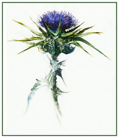 Study of a Thistle Flower by John Ruskin Counted Cross Stitch or Counted Needlepoint Pattern