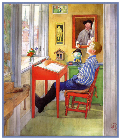 Ulf Doing Homework by Swedish Artist Carl Larsson Counted Cross Stitch or Counted Needlepoint Pattern
