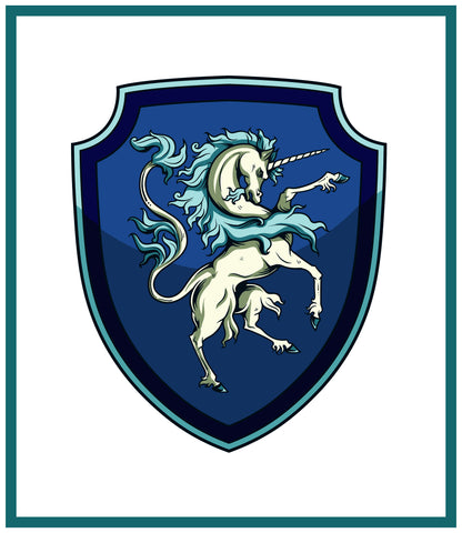 Unicorn Crest Coat of Arms inspired by a  Medieval Tapestry Counted Cross Stitch Pattern