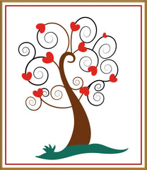 Contemporary Valentine Heart Tree Sew So Simple ™ Counted Cross Stitch or Counted Needlepoint Pattern