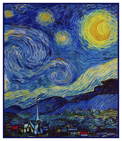 Starry Starry Night Detail by Vincent Van Gogh Counted Cross Stitch or Counted Needlepoint Pattern