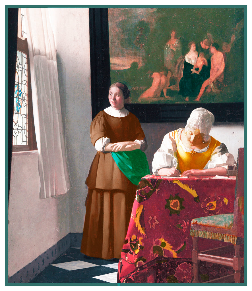 Woman Writing a Letter by Johannes Vermeer Counted Cross Stitch Pattern
