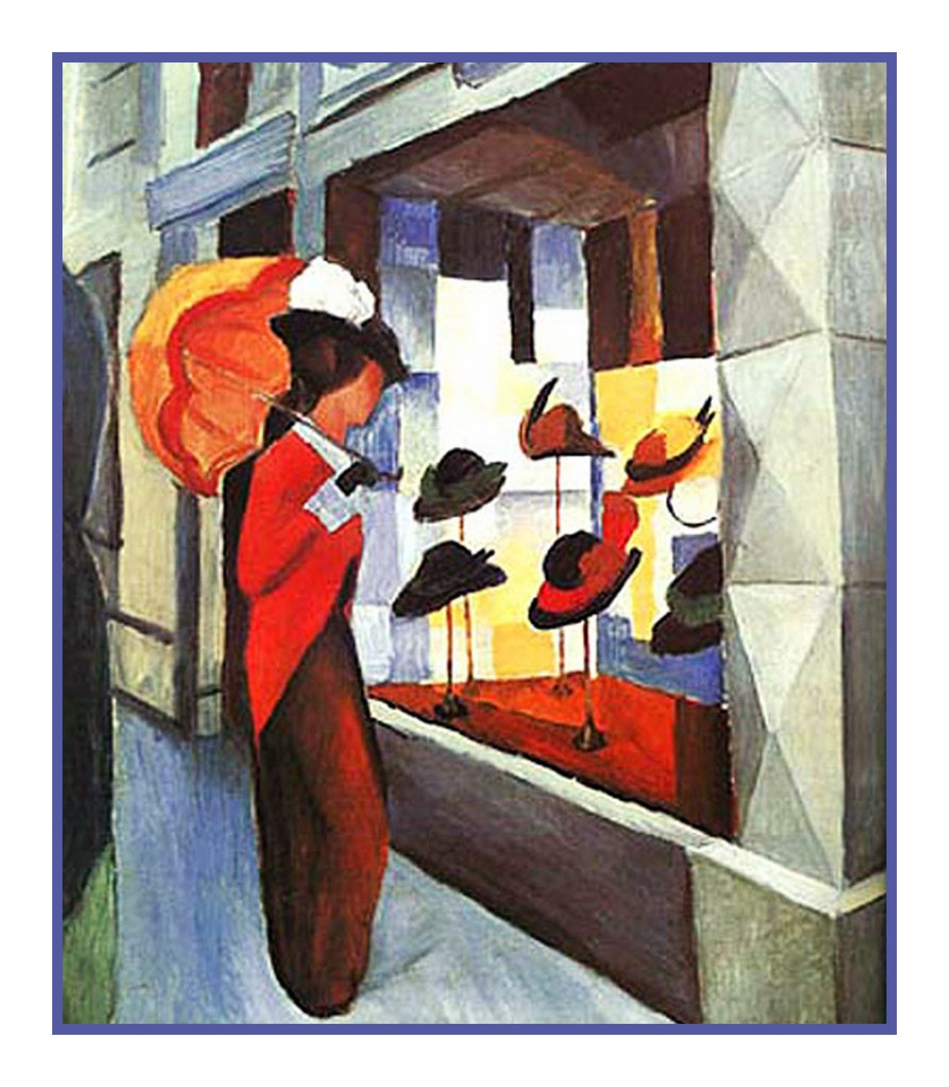 Woman Before the Hat Shop by Expressionist Artist August Macke Counted  Cross Stitch Pattern