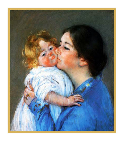 Mama's Kiss for Baby by American impressionist artist Mary Cassatt Counted Cross Stitch Pattern