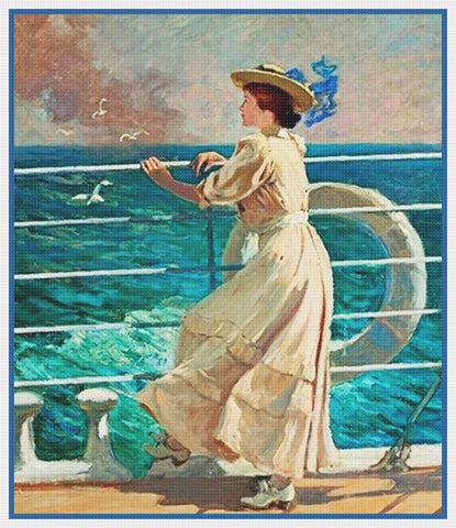 On The Deck By American Abbott Fuller Graves Counted Cross Stitch Pattern