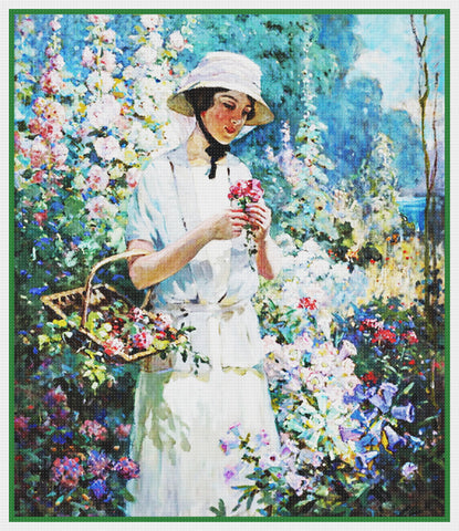 Woman in Flower Garden By  Abbott Fuller Graves Counted Cross Stitch Pattern