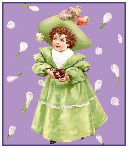 Young Miss Girl Easter Finery by Maud Humphrey Bogart Counted Cross Stitch Pattern