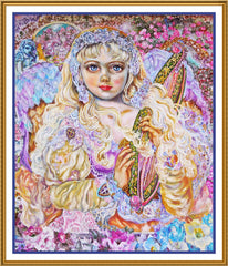 An Angel Playing an Emerald Harp inspired by Yumi Sugai Counted Cross Stitch  Pattern - Orenco Originals LLC