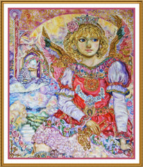 Angel with the Key to Heaven inspired by Yumi Sugai Counted Cross Stitch or Counted Needlepoint Pattern