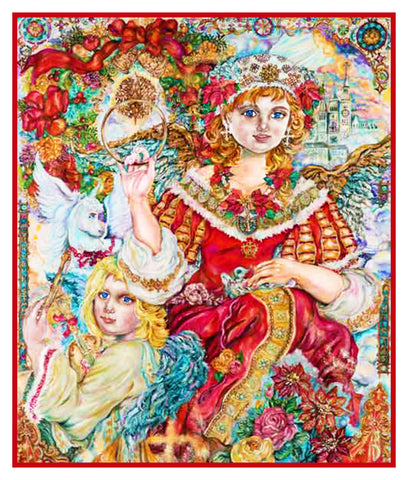 Angel of Christmas inspired by Yumi Sugai Counted Cross Stitch or Counted Needlepoint Pattern