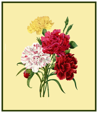 Bouquet of Carnation Flowers Inspired by Pierre-Joseph Redoute Counted Cross Stitch or Counted Needlepoint Pattern