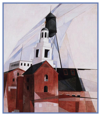 Pennsylvania Church Cubist Precisionism by American Artist Charles Demuth Counted Cross Stitch Pattern