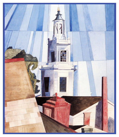 The Tower Cubist Precisionism by American Artist Charles Demuth Counted Cross Stitch Pattern