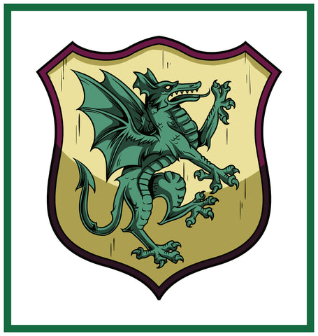 Dragon Crest Coat of Arms inspired by a  Medieval Tapestry Counted Cross Stitch Pattern