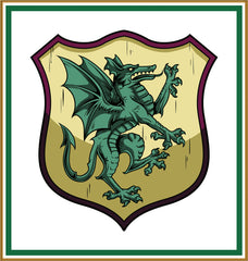 Dragon Crest Coat of Arms inspired by a  Medieval Tapestry Counted Cross Stitch  Pattern - Orenco Originals LLC
