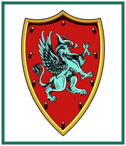 Griffin Crest Coat of Arms inspired by a  Medieval Tapestry Counted Cross Stitch Pattern