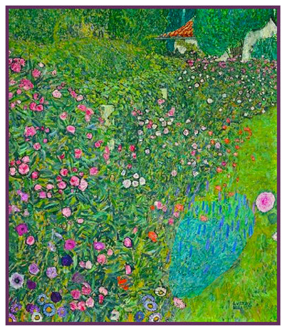 Art Nouveau Gustav Klimt Flower Garden Landscape Counted Cross Stitch Pattern