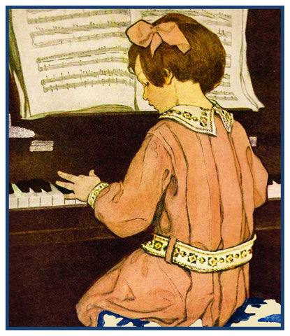 Young Girl Practicing the Piano By Jessie Willcox Smith Counted Cross Stitch Pattern