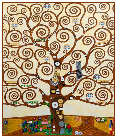 Art Nouveau Gustav Klimt Tree of Life detail Counted Cross Stitch Pattern