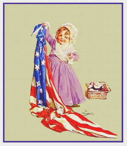 Child's Play Dress Up .. Betsy Ross by Maud Humphrey Bogart Counted Cross Stitch Pattern