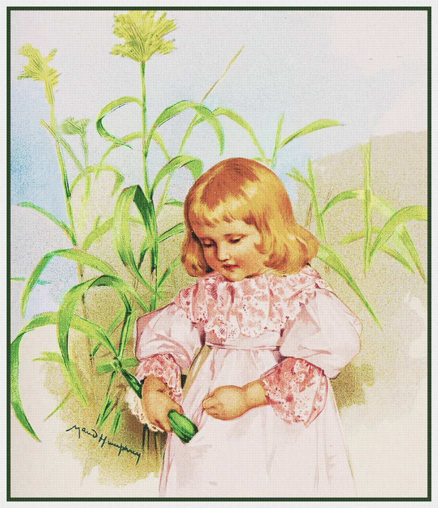 Young Girl Cornstalks by Maud Humphrey Bogart Counted Cross Stitch Pattern