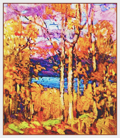 Tom Thomson's October Autumn Algonquin Ontario Canada Landscape Counted Cross Stitch Pattern
