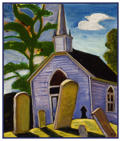 The Blue Church by Canadian Artist Prudence Heward Counted Cross Stitch Pattern