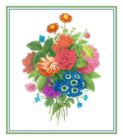Bouquet of Wildflowers Inspired by Pierre-Joseph Redoute Counted Cross Stitch or Counted Needlepoint Pattern