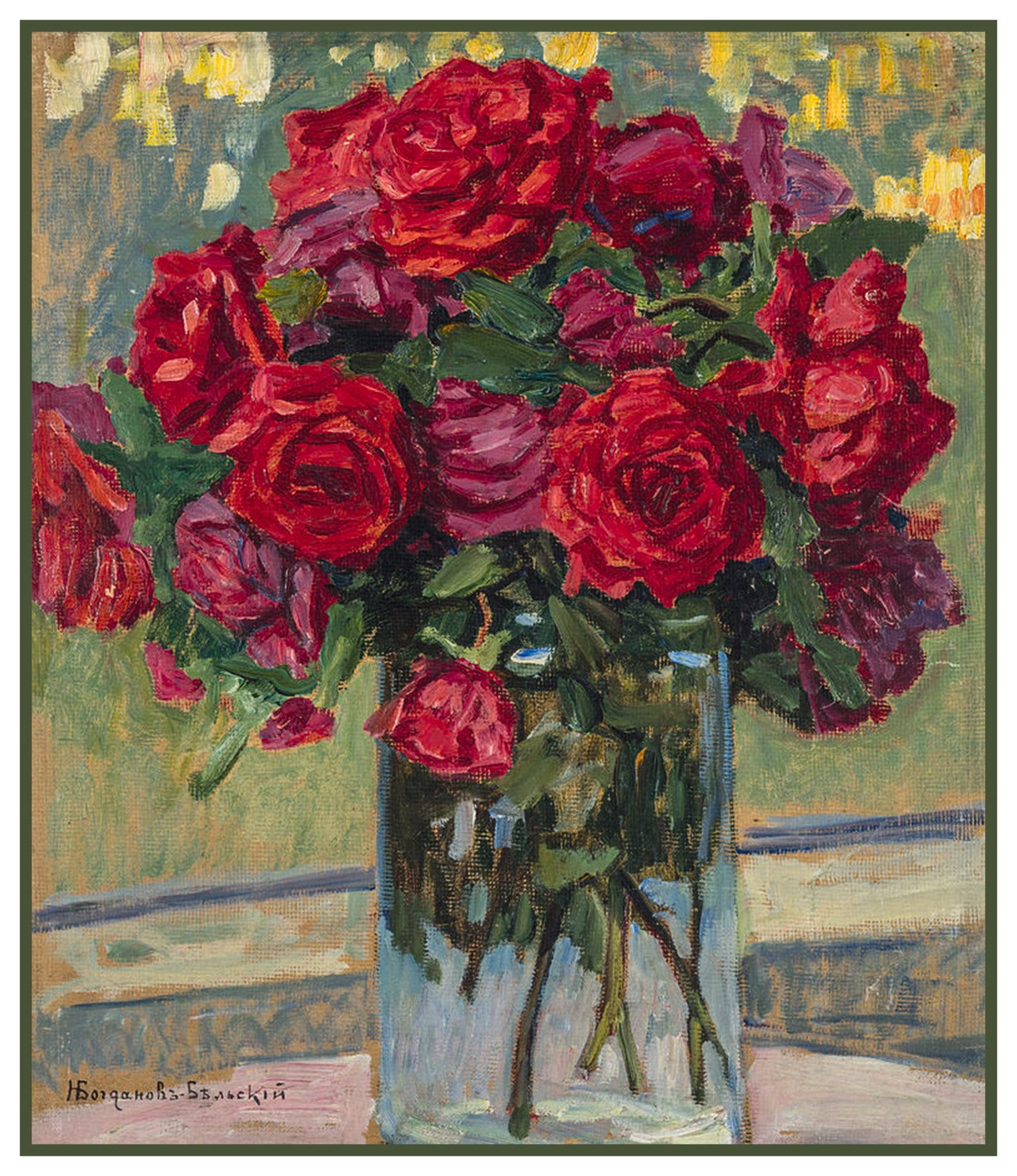Still Life Red Roses  By Nikolay Bogdanov-Belsky Counted Cross Stitch Pattern