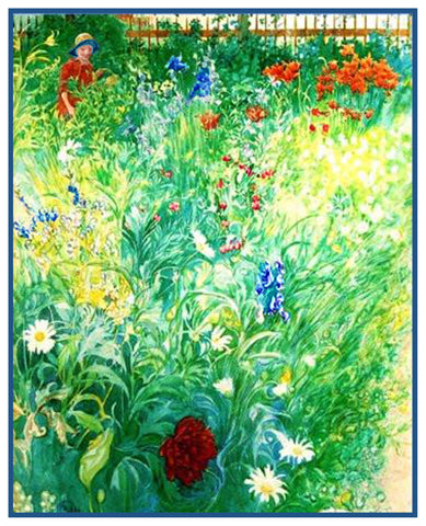 Boy in a Summer Garden by Swedish Artist Carl Larsson Counted Cross Stitch Pattern
