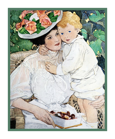 Baby Snuggling With Auntie By Jessie Willcox Smith Counted Cross Stitch Pattern