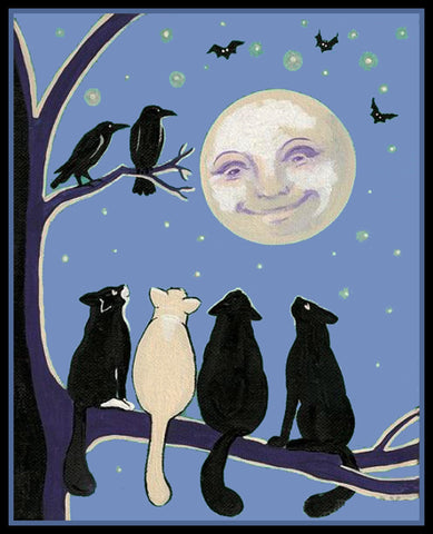 Vintage Halloween Cats on a Branch Full Moon Crows Counted Cross Stitch Pattern Digital Download