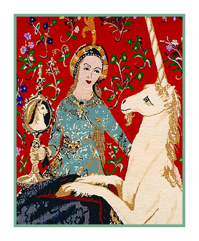 Sight Panel Detail from the Lady and The Unicorn Tapestries Counted Cross Stitch or Counted Needlepoint Pattern