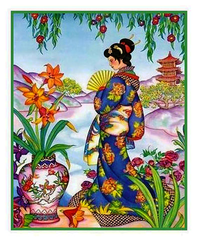 Japanese Artist Hokusai Asian The Lady #1 Counted Cross Stitch Chart Pattern