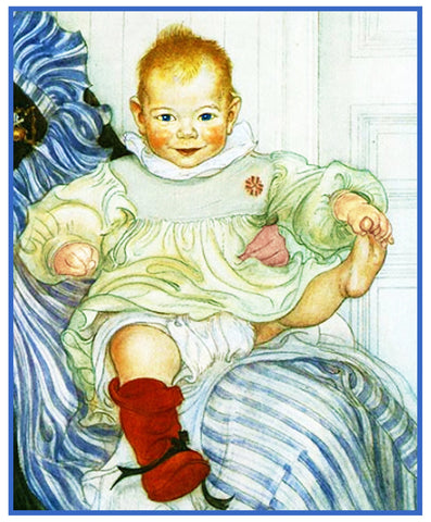Esbjorn as a Baby inspired Swedish Carl Larsson Counted Cross Stitch Pattern