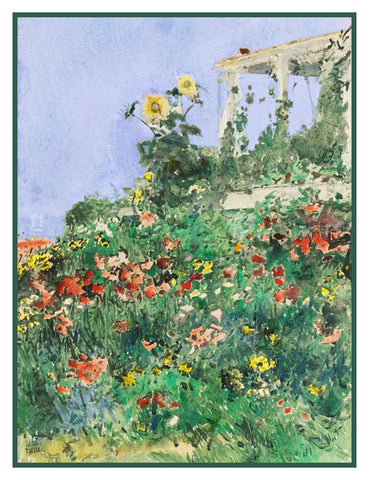 Summer Garden and Porch Isle of Shoals by American Impressionist Painter Childe Hassam Counted Cross Stitch Pattern