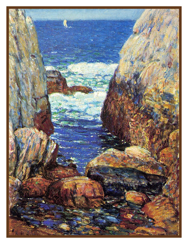 Sea and Surf Appledore Island Isle of Shoals by American Impressionist Painter Childe Hassam Counted Cross Stitch Pattern