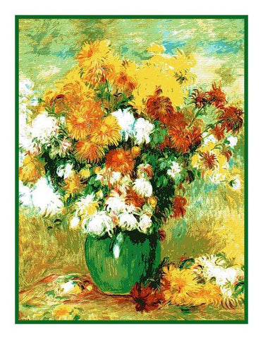Bouquet of Chrysanthemums inspired by Pierre Auguste Renoir's Counted Cross Stitch or Counted Needlepoint Pattern