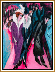 A Berlin Street Scene by Ernst Ludwig Kirchner Counted Cross Stitch or Counted Needlepoint Pattern