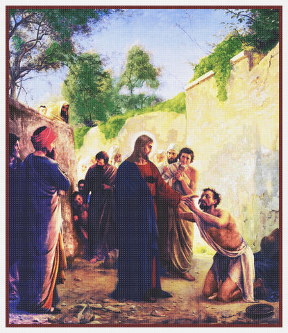Carl Bloch's Jesus Christ Healing Blind Man Counted Cross Stitch Pattern