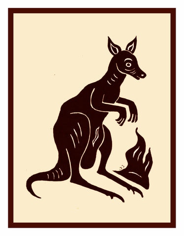 Russian Folk Art Animal Kangaroo by Issachar Ber Ryback's Counted Cross Stitch Pattern