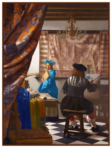 The Allegory of a Painter in His Studio by Johannes Vermeer Counted Cross Stitch or Counted Needlepoint Pattern