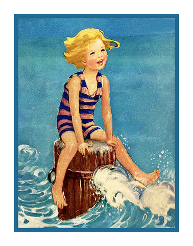 A Boys Seaside Adventure By Jessie Willcox Smith Counted Cross Stitch Pattern
