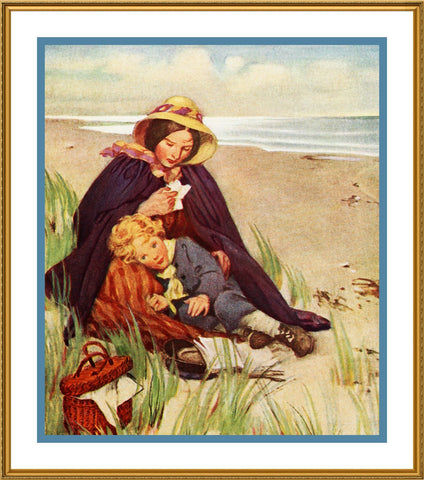 Jessie Willcox Smith A Blustery Beach Day Counted Cross Stitch Pattern