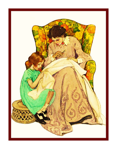 Learning Embroidery From Mom By Jessie Willcox Smith Counted Cross Stitch Pattern DIGITAL DOWNLOAD