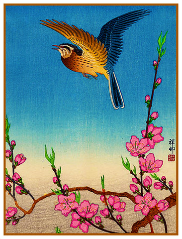 Japanese Artist Ohara Shoson's  Nightingale Bird In Plum Blossoms Counted Cross Stitch Pattern